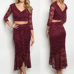 2-Piece Crop Top and Skirt Set Size S